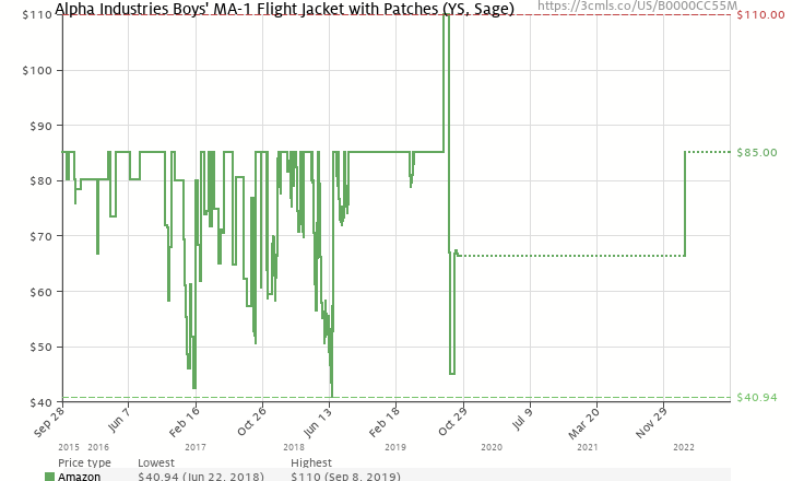 d4d43b04442 Amazon price history chart for Alpha Industries Boys  Big MA-1 W Patches